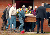 Buckhannon, WVa - January 8, 2006 -- Pall bearers carry the casket carrying the remains of Jesse L. Jones, 44, following the funeral service in Buckhannon, West Virginia on January 8, 2006.   Mr. Jones perished in the Sago Mine explosion on January 2, 2006..Credit: Ron Sachs / CNP