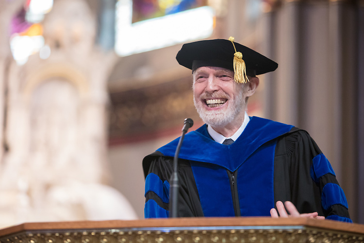 Marten denBoer, provost, offers remarks during the 120th DePaul University Convocation on Thursday, August 31, 2017, at St. Vincent de Paul Parish. DePaul University President A. Gabriel Esteban, Ph.D., also provided remarks, and many faculty and staff were recognized with annual awards including: Excellence in Teaching, Spirit of Inquiry, Excellence in Public Service, Vincent de Paul Professorship, Spirit of DePaul, Staff Quality Service, Gerald Paetsch Academic Advising and faculty promotion and tenure. (DePaul University/Jeff Carrion)