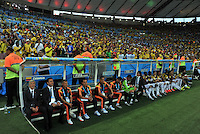RIO DE JANEIRO - BRASIL -28-06-2014. Cuerpo técnico de Colombia (COL) durante los actos protocolarios previo al partido de los octavos de final con Uruguay (URU) por la Copa Mundial de la FIFA Brasil 2014 jugado en el estadio Maracaná de Río de Janeiro./ Coaching staff of Colombia (COL) during the formal events prior of the match of the Round of 16 against Uruguay (URU)  for the 2014 FIFA World Cup Brazil played at Maracana stadium in Rio do Janeiro. Photo: VizzorImage / Alfredo Gutiérrez / Contribuidor