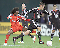 Branko Boskovic #27 of D.C. United paces away from Julian de Guzman #6 of Toronto FC during an MLS match that was the final appearance of D.C. United's Jaime Moreno at RFK Stadium, in Washington D.C. on October 23, 2010. Toronto won 3-2.