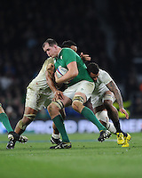 Devin Toner, FEBRUARY 27, 2016 - Rugby : Devin Toner of Ireland is tackled by Billy Vunipola and Courtney Lawes of England during the RBS 6 Nations match between England and Ireland at Twickenham Stadium, London, United Kingdom. (Photo by Rob Munro)