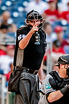 26 September 2018: MLB Umpire Chad Whitson call a strike at home plate during a game between the Washington Nationals and the Miami Marlins at Nationals Park in Washington, DC. The Nationals defeated the visiting Marlins 9-3, closing out Washington's 2018 home season. Mandatory Credit: Ed Wolfstein Photo *** RAW (NEF) Image File Available ***