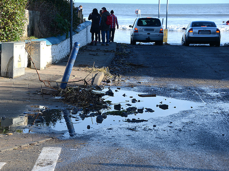 Debris washed up by the high tide at the entrance to the beach at bettystown. Photo: Colin Bell/pressphotos.ie