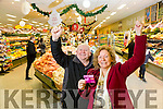 Marie Hartnett, Listowel winner of the Kerry's Eye Garveys  Shopping Competition, was presented with her €1000 shopping card at  Garveys SuperValu, Listowel on Tuesday. Pictured with Eddie Browne