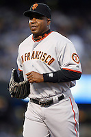 Barry Bonds of the San Francisco Giants during a game from the 2007 season at Dodger Stadium in Los Angeles, California. (Larry Goren/Four Seam Images)