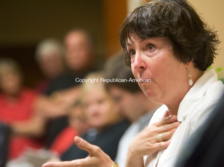 MIDDLEBURY, CT- 09 JULY 2008- 070908JT06-<br /> Middlebury resident Janine Sullivan-Wiley speaks in support of the town and its services during Wednesday's Board of Finance meeting at Town Hall. The meeting was to draft the town's third budget. <br /> Josalee Thrift / Republican-American