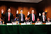 "Goldman Sachs Group, Inc. (GSI) executives are sworn-in to testify before the United States Senate Permanent Subcommittee on Investigations hearing on ""Wall Street and the Financial Crisis: The Role of Investment Banks"" using Goldman Sachs as a case study on Tuesday, April 27, 2010. From left to right: Daniel L. Sparks, Former Partner, Head of Mortgages Department, GSI; Joshua S. Birnbaum, Former Managing Director, Structured Products Group Trading, GSI; Michael J. Swenson, Managing Director, Structured Products Group Trading, GSI; and Fabrice P. Tourre, Executive Director, Structured Products Group Trading. .Credit: Ron Sachs / CNPFabrice P. Tourre, Executive Director, Structured Products Group Trading, The Goldman Sachs Group, Inc. (GSI), departs after giving testimony before the United States Senate Permanent Subcommittee on Investigations hearing on ""Wall Street and the Financial Crisis: The Role of Investment Banks"" using Goldman Sachs as a case study on Tuesday, April 27, 2010. .Credit: Ron Sachs / CNP.(RESTRICTION: NO New York or New Jersey Newspapers or newspapers within a 75 mile radius of New York City)"