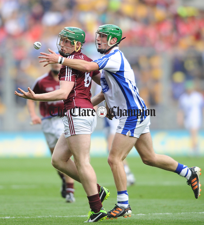 Shane Cooney of Galway in action against Colm Roche of Waterford during the All-Ireland Minor final at Croke Park. photograph by John Kelly.