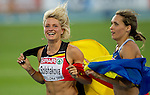 31.07.2010, Olympic Stadium, Barcelona, ESP, European Athletics Championships Barcelona 2010, im Bild Third placed Belgium's Svetlana Bolshakova and winner Ukraine's Olha Saladuha celebrate after the women's triple jump final, EXPA Pictures © 2010, PhotoCredit: EXPA/ Sportida/ Vid Ponikvar +++++ ATTENTION - OUT OF SLOVENIA +++++