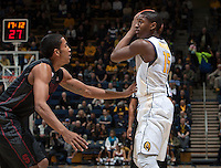 Jordan Mathews of California controls the ball during the game against Stanford at Haas Pavilion in Berkeley, California on February 5th, 2014.  Stanford defeated California, 80-69.