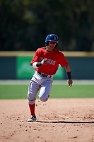 Boston Red Sox Jeremy Rivera (11) running the bases during a minor league Spring Training game against the Baltimore Orioles on March 16, 2017 at the Buck O'Neil Baseball Complex in Sarasota, Florida. (Mike Janes/Four Seam Images)