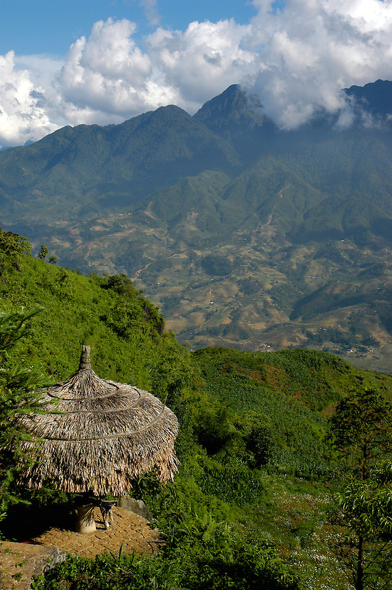 Thatched hut over looking the Mountains of Sapa, Vietnam
