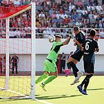 09.07.2019: St Joseph's v Rangers: Nikola Katic heads in but Alfredo Morelos given the goal