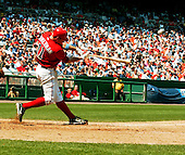 Washington, D.C. - June 18, 2006 --  The ball leaves the bat of Washington Nationals third baseman Ryan Zimmerman (11) en-route to the bullpen for a game-winning 2 run homer against the New York Yankees at RFK Stadium in Washington, D.C. on June 18, 2006.  The Nationals won the game 3 - 2..Credit: Ron Sachs / CNP