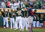 Josh Donaldson celebrates his home run with teammates.<br />