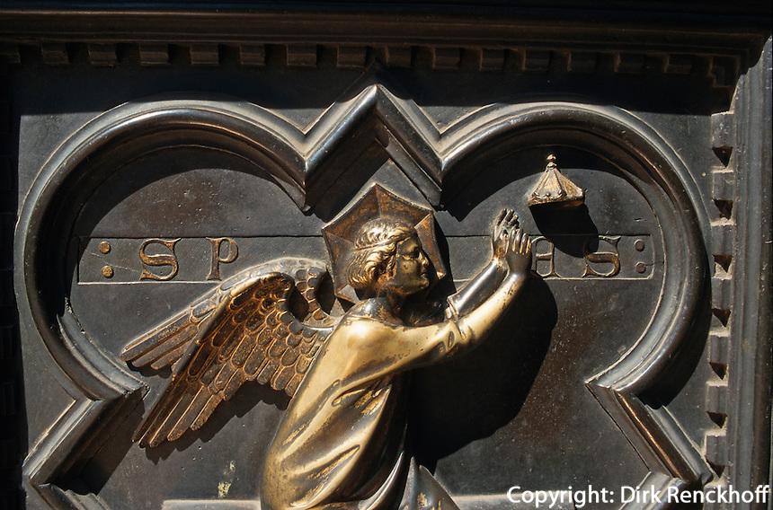 Baptisterium, Bronzetür an der Westseite, Florenz, Toskana, Italien, Unesco-Weltkulturerbe