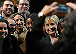 (Hanover, NH, 11/10/15) Democratic presidential candidate Hillary Rodham Clinton poses for a group photograph at Dartmouth College in Hanover, NH on Tuesday, November 10, 2015. Photo by Christopher Evans