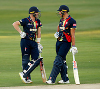 Sam Billings discusses tactics with Marcus Stoinis during the Vitality Blast T20 game between Kent Spitfires and Essex Eagles at the St Lawrence Ground, Canterbury, on Thu Aug 2, 2018