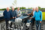 Old Wheels<br /> ----------------<br /> Having the chat at the KVV&amp;CCC run vintage rally at O'Riada's,Ballymac last Friday evening in aid of Downsyndrome Kerry were L-R JJ Breen,Tom Glover,Pat Ahern,Tom Slattery and Patsy O'Connor,all admiring the Daimler Conquest vintage car.