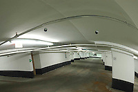 Relection of a parking garage in a convex mirror