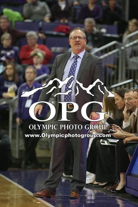 SEATTLE, WA - DECEMBER 18: Washington head coach Mike Neighbors watches his team from the bench against Savannah State.  Washington won 87-36 over Savannah State at Alaska Airlines Arena in Seattle, WA.
