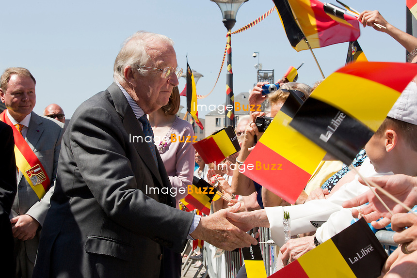 LIEGE, BELGIUM: King Albert II of Belgium and Queen Paola Of Belgium during their last Royal public official appearance visit, in the city of Liege, on Friday July 19, 2013. King Albert II will resign on July 21, Belgium's National day.