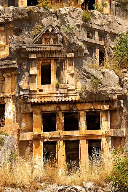 Pictures & images of the ancient Lycian rock cut tombs town of Myra, Anatolia, Turkey.