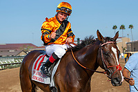 DEL MAR, CA  AUGUST 4: #11 Cambodia, ridden by Drayden Van Dyke, gives a thumbs up after winning the Yellow Ribbon Handicap (Grade ll) on August 4, 2018 at Del Mar Thoroughbred Club in Del Mar, CA.(Photo by Casey Phillips/Eclipse Sportswire/ Getty Images)