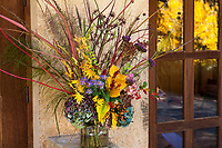 Autumn floral bouquet, with grasses, branches, seeds, foliage, leaves, flowers at Digging Dog Nursery