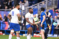 9th February 20020, Stade de France, Paris, France; 6-Nations international mens rugby union, France versus Italy;   Demba Bamba  18 of France  shakes hands with the players of Italy at the final whistle