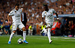 Real Madrid CF's Eden Hazard and Real Madrid CF's Vinicius Jr during UEFA Champions League match, groups between Real Madrid and Club Brugge at Santiago Bernabeu Stadium in Madrid, Spain. October 01, 2019.(ALTERPHOTOS/Manu R.B.)