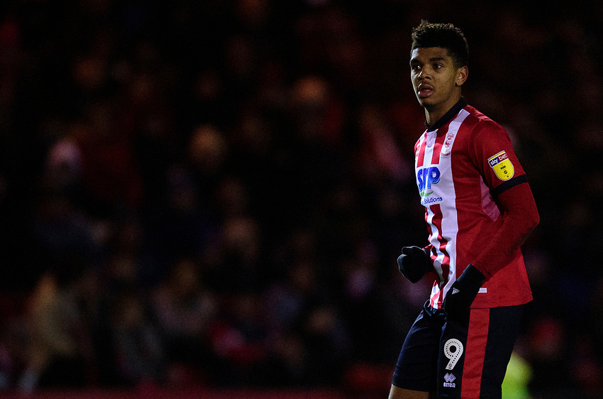 Lincoln City's Tyreece John-Jules<br /> <br /> Photographer Andrew Vaughan/CameraSport<br /> <br /> The EFL Sky Bet League One - Lincoln City v Milton Keynes Dons - Tuesday 11th February 2020 - LNER Stadium - Lincoln<br /> <br /> World Copyright © 2020 CameraSport. All rights reserved. 43 Linden Ave. Countesthorpe. Leicester. England. LE8 5PG - Tel: +44 (0) 116 277 4147 - admin@camerasport.com - www.camerasport.com