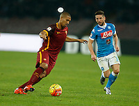 AS Roma's William Vainqueur and Napoli's Jorginho  during the  italian serie a soccer match,between SSC Napoli and AS Roma       at  the San  Paolo   stadium in Naples  Italy ,December 13, 2015