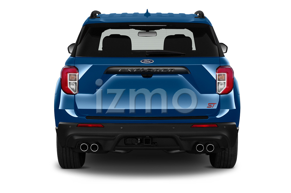 Straight rear view of 2020 Ford Explorer ST 5 Door SUV Rear View  stock images