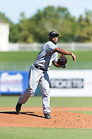 Peoria Javelinas starting pitcher Miguel Diaz (36), of the San Diego Padres organization, follows through on his delivery during an Arizona Fall League game against the Surprise Saguaros at Surprise Stadium on October 17, 2018 in Surprise, Arizona. (Zachary Lucy/Four Seam Images)