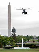 Marine One, with United States President Donald J. Trump and First lady Melania Trump aboard, makes its final approach to the South Lawn of the White House in Washington, DC on April 24, 2019.  The President and first lady are returning following their delivering remarks at the Prescription Drug Abuse and Heroin Summit in Atlanta, Georgia.<br /> Credit: Ron Sachs / CNP