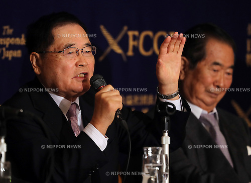 May 19, 2016, Tokyo, Japan - Japanese hawkish politicians Shizuka Kamei (L), Lower House lawmaker and Shintaro Ishihara (R), former Tokyo Governor speak at a press conference at the Foreign Correspondent Club of Japan in Tokyo on Thursday, May 19, 2016. Ishihara and Kamei are expecting to visit United States to have dialogue with Donald Trmp, Republican candidate for US presidential election.  (Photo by Yoshio Tsunoda/AFLO) LWX -ytd-