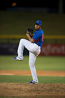 AZL Cubs 2 relief pitcher Fernando Calderon (57) delivers a pitch during an Arizona League game against the AZL Rangers at Sloan Park on July 7, 2018 in Mesa, Arizona. AZL Rangers defeated AZL Cubs 2 11-2. (Zachary Lucy/Four Seam Images)
