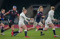 Twickenham, United Kingdom.  Natashe HUNT, preparing to kick.,during the Women's RBS, Six Nations : England Women  vs France Women. at the  RFU Stadium, Twickenham, England, <br /> <br /> Saturday  04/02/2017<br /> <br /> [Mandatory Credit; Peter Spurrier/Intersport-images]