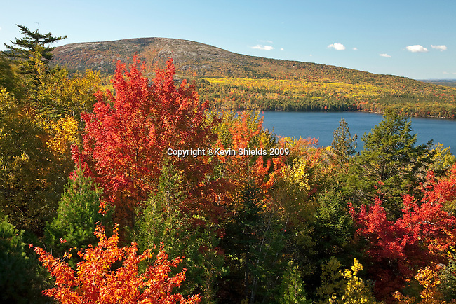 Fall view of Eagle Lake and Sargent Mountain, Acadia National Park, Maine, USA