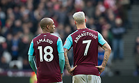 Goal scorers Joao Mario & Marko Arnautovic of West Ham United during the EPL - Premier League match between West Ham United and Southampton at the Olympic Park, London, England on 31 March 2018. Photo by Andy Rowland.