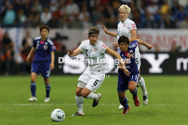 FRANKFURT, GERMANY - JULY 17:  Amy LePeilbet of the United States (6) battles with Shinobu Ohno of Japan (11)  during the FIFA Women's World Cup final July 17, 2011 at FIFA Women's World Cup Stadium in Frankfurt, Germany.  Editorial use only.  (Photograph by Jonathan P. Larsen)
