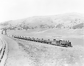 D&amp;RGW #491 with westbound mixed freight and tank cars coming up from Los Pinos toward Cumbres.<br /> D&amp;RGW  Los Pinos, CO  Taken by Krause, John
