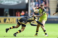 Adam Thompstone of Leicester Tigers is tackled in possession. Aviva Premiership semi final, between Wasps and Leicester Tigers on May 20, 2017 at the Ricoh Arena in Coventry, England. Photo by: Patrick Khachfe / JMP