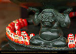Oni Troll supporting Incense Holder, Dharma Dolls, Daruma, Bodhidharma, good luck charm, Katsuoji, Minoh Mountain, Osaka, Japan