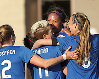 Boston Breakers midfielder Mariah Noguiera (20) celebrates her goal with teammates.  In a National Women's Soccer League Elite (NWSL) match, the Boston Breakers (blue) defeated Chicago Red Stars (white), 4-1, at Dilboy Stadium on May 4, 2013.