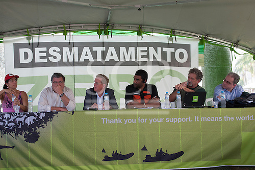 L to R: Marcia Santos, José Sarney Filho, Dom Guilherme Werlang, Kumi Naidoo, Paulo Adario are sharing a platform for the launch of a campaign to presuade the Brazilian government to introduce a Zero Deforestation law. People's Summit, United Nations Conference on Sustainable Development (Rio+20), Rio de Janeiro, Brazil, 15th June 2012. Photo © Sue Cunningham.