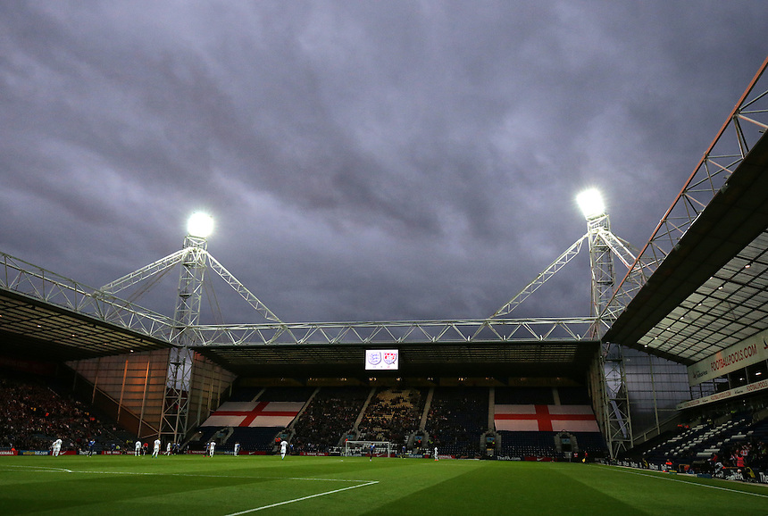 A general view of Deepdale, home of Preston North End FC and the venue for the England U21 v USA U23 match<br /> <br /> Photographer Stephen White/CameraSport<br /> <br /> Football International - Under 21 Friendly - England U21 v USA U23 - Thursday 3rd September 2015 - Deepdale - Preston<br /> <br /> &copy; CameraSport - 43 Linden Ave. Countesthorpe. Leicester. England. LE8 5PG - Tel: +44 (0) 116 277 4147 - admin@camerasport.com - www.camerasport.com