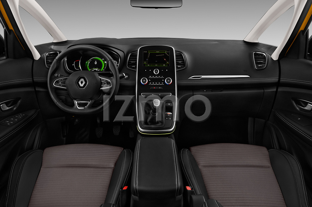 Stock photo of straight dashboard view of 2017 Renault Scenic Intens 5 Door Minivan Dashboard
