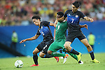 (L to R) <br /> Sei Muroya (JPN), <br /> Imoh Ezekiel (NGR), <br /> Riki Harakawa (JPN), <br /> AUGUST 4, 2016 - Football / Soccer : <br /> Men's First Round Group B <br /> between Nigeria 5-4 Japan <br /> at Amazonia Arena <br /> during the Rio 2016 Olympic Games in Manaus, Brazil. <br /> (Photo by YUTAKA/AFLO SPORT)